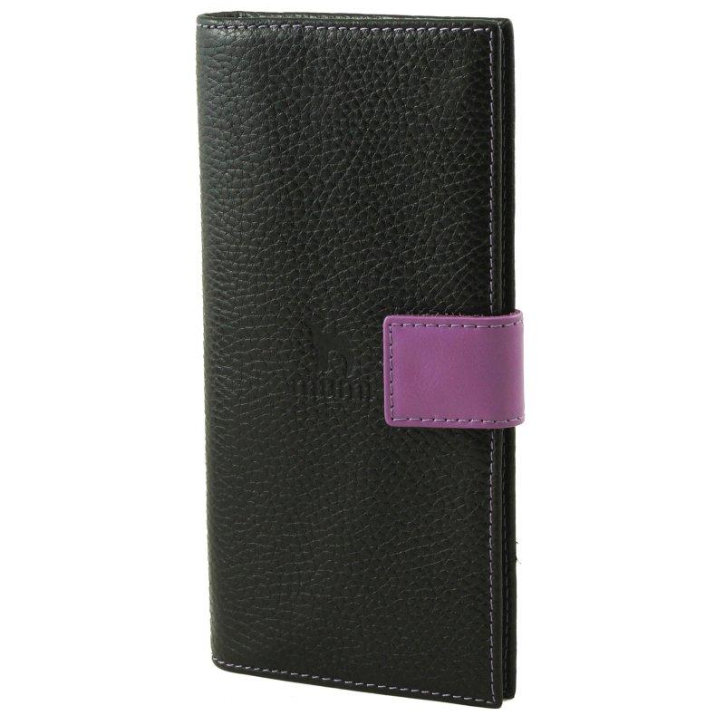 Вертикальное портмоне Mumi черный/purpur