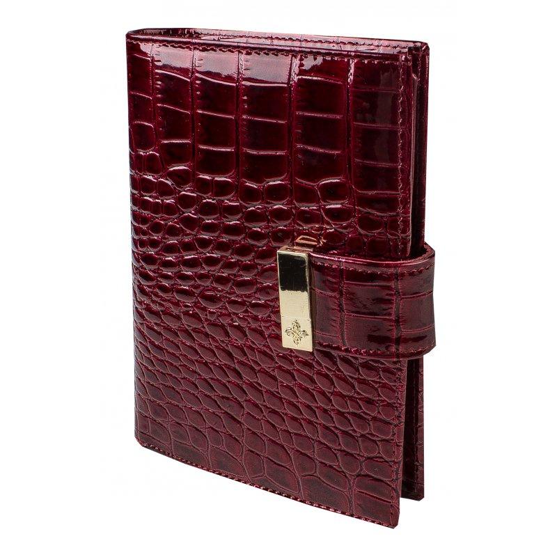 Портмоне с блоком для прав и отделением для паспорта  Вишневый крокодил